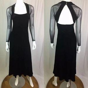 Vintage Velvet Mesh Open Back Flare Maxi Dress
